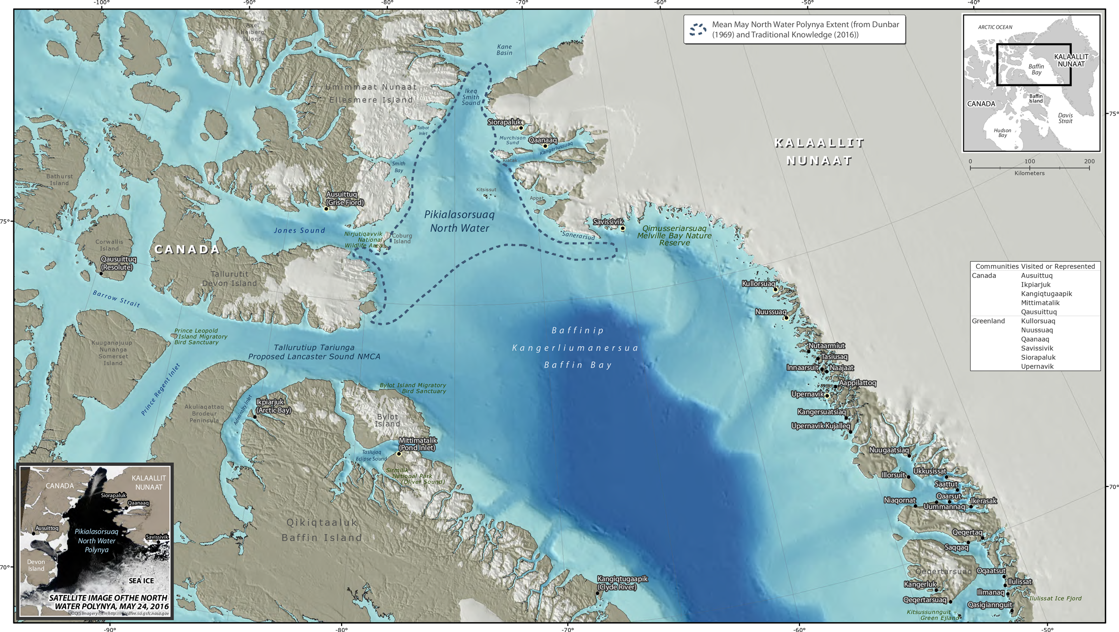 Map of Pikialasorsuaq (The North Water Polynya) including surrounding Inuit communities.