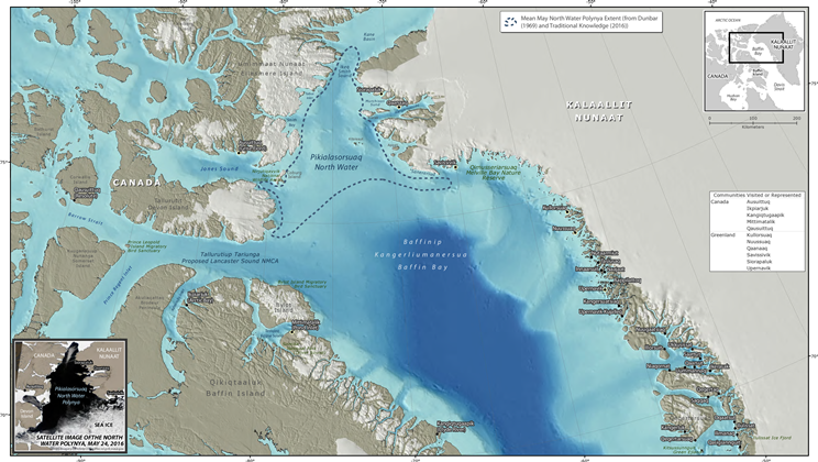 Map of Pikialasorsuaq (The North Water Polynya) including surrounding Inuit communities